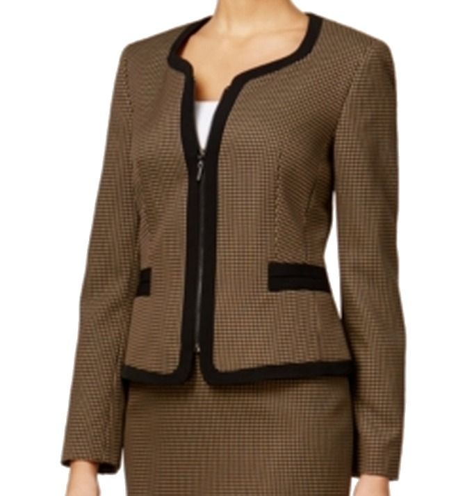 Kasper NEW Brown Womens Size 12 Full-Zip Jacquard Pattern Jacket