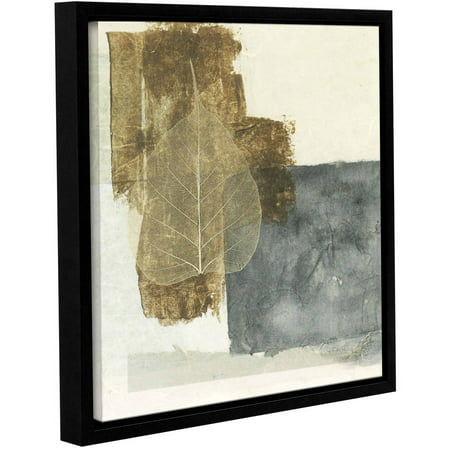 Artwall Elena Ray   Wabi Sabi Bodhi Leaf Collage 5   Gallery Wrapped Floater Framed Canvas