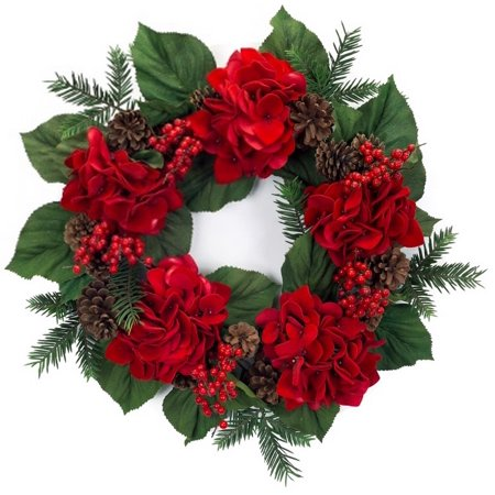 pack of 2 decorative red velvet hydrangea flower and pine cone artificial christmas wreaths 22 - Artificial Christmas Wreaths Decorated