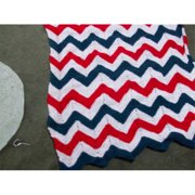 Fine Crafts 632CRO Red white and blue crocheted ripple afghan