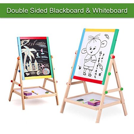 (Kids Drawing Easel Board, 2 in 1 Black / White Double Sided Wooden Kid's Art Easel)