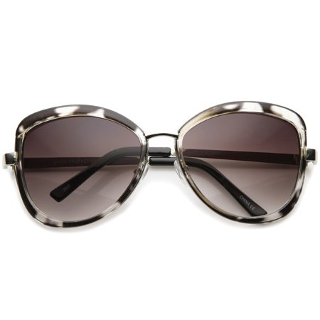 sunglassLA - Glam Bow-Tie Metal Temple Gradient Tinted Lens Oversize Sunglasses - (Amber Tinted Sunglasses)