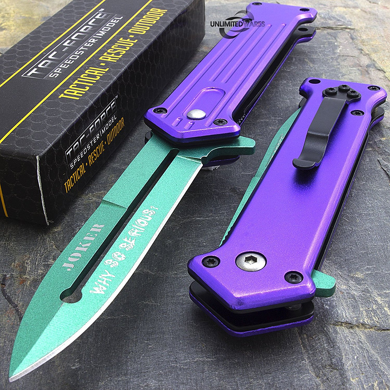 "7.5"" JOKER SPRING ASSISTED FOLDING POCKET KNIFE Blade Batman Two Tone by, Tac Force Spring Assisted Joker Knife. By Only US"