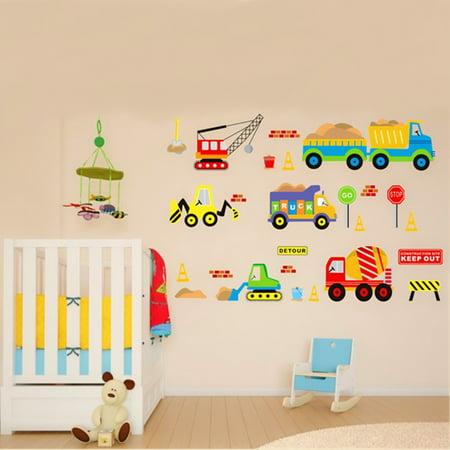 Grtsunsea Removable Wall Sticker Transport Truck Digger Car Art Decal Kids Children Room Nursery - Car Room Decor