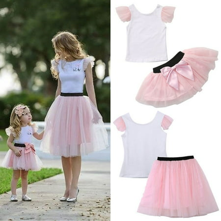 Fashion Mother Daughter Women Kid Girls Summer T-shirt+Skirt Tulle Dress Outfits - 60s Girls Fashion