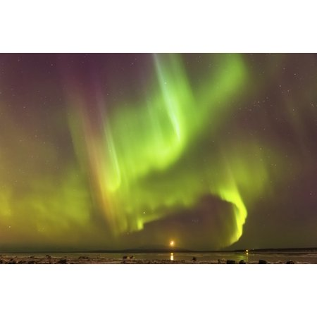 Northern Lights And Moon In The Sky Above The Snow Covered Mudflats Of Knik Arm And Mt Susitna Winter Cook Inlet Southcentral Alaska Usa Canvas Art   Kevin Smith  Design Pics  19 X 12