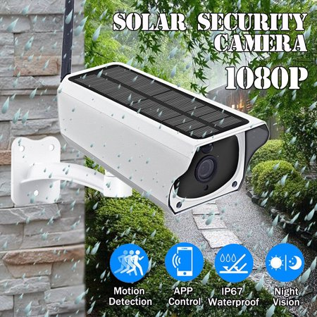 HD 1080P Waterproof Outdoor Wireless Solar Security Camera 2MP WIFI IP  Camera Night Vision PIR Detection for Android/IOS Phone Porch Garden Patio