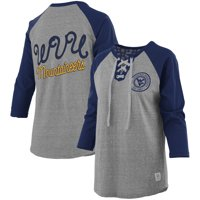 West Virginia Mountaineers Pressbox Women's Plus Size Two-Hit Lace-Up Raglan Long Sleeve T-Shirt - Heathered Gray/Navy