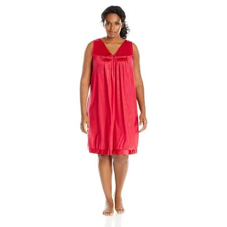 Vanity Fair Coloratura Women`s Plus-Size Short Nightgown, 2X, Cherries Jubilee (Renaissance Gowns Plus Size)