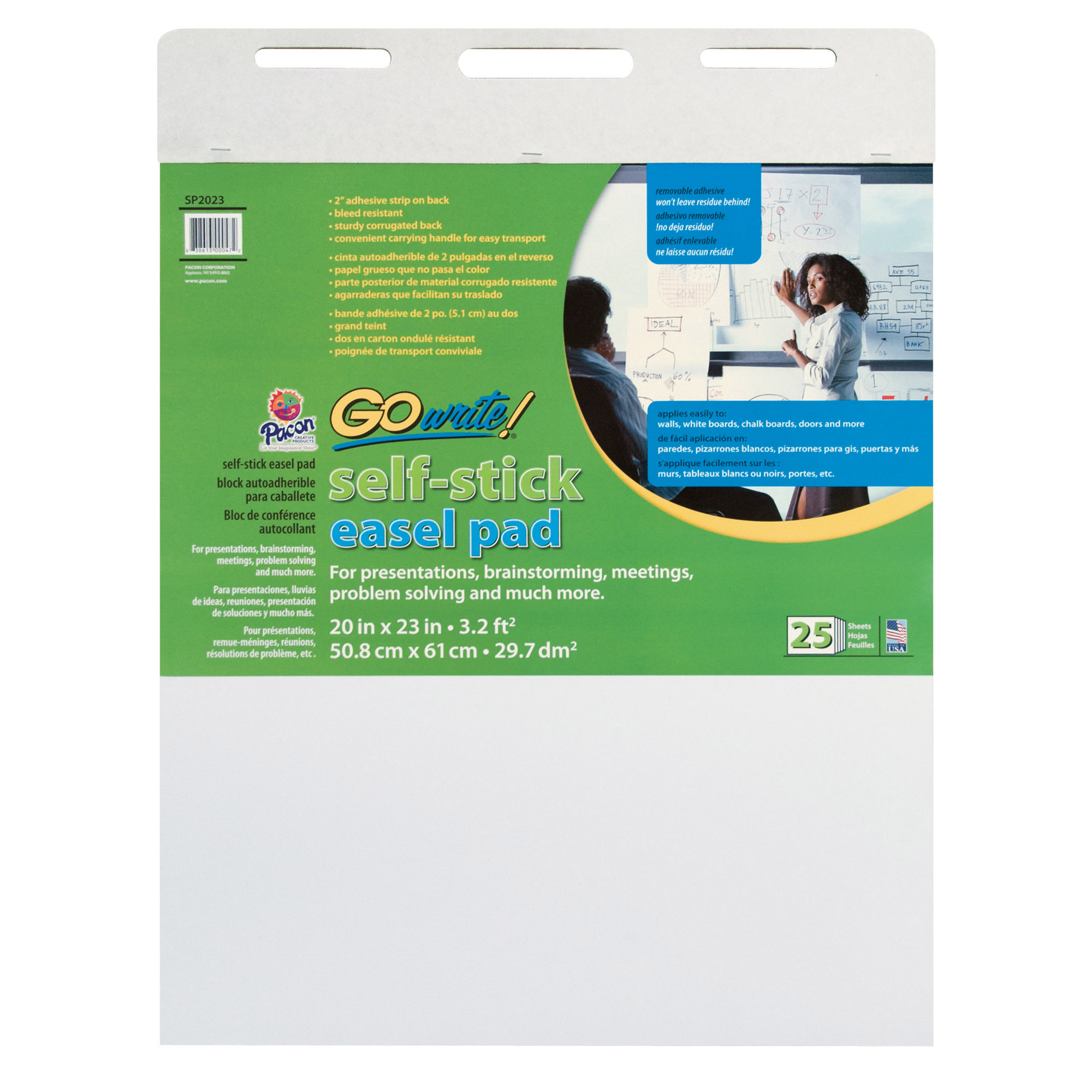 "Pacon® GoWrite!® Self-Stick Easel Pad, 20"" x 23"", White, 25 Sheets"