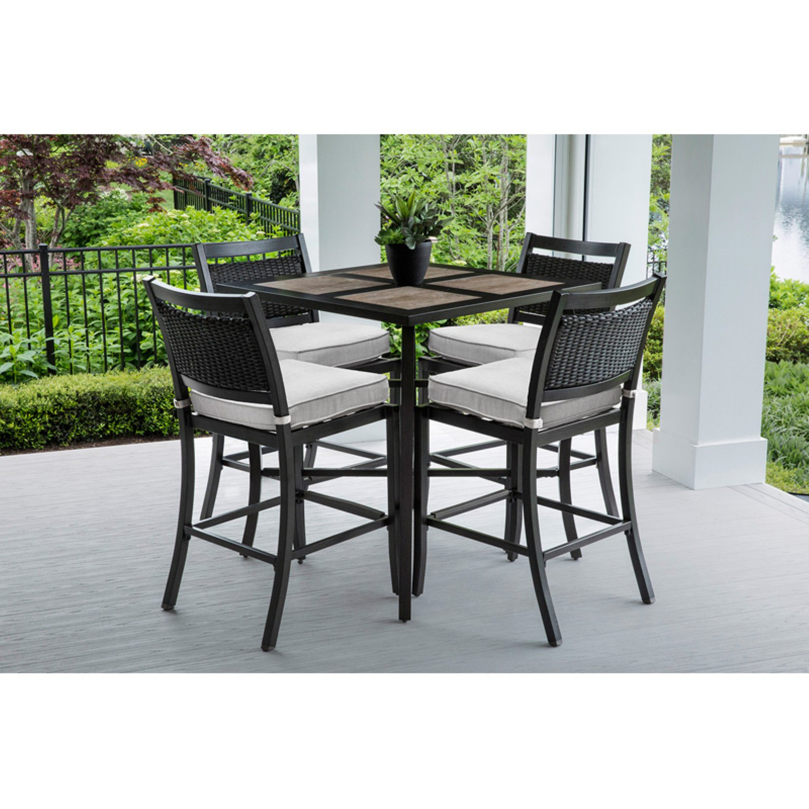 Oakland Living Wood and Aluminum 5 Piece Bar Height Patio Dining Set with Sunbrella Cushions