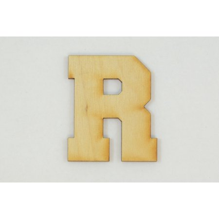 1 Pc, 5 Inch X 1/8 Inch Thick Collegiate Font Wood Letters R Easy To Paint Or Decorate For Indoor Use Only