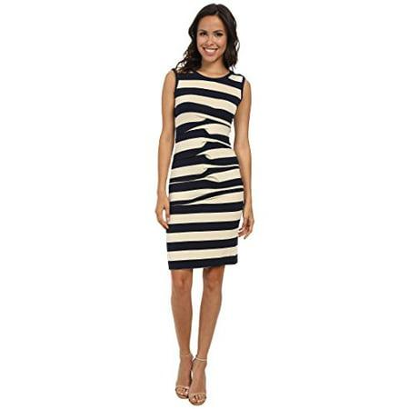 - Nicole Miller Women's Stripe Jersey Tank Dress w/ Cutout Ivory/Navy Dress LG (US 12-14)