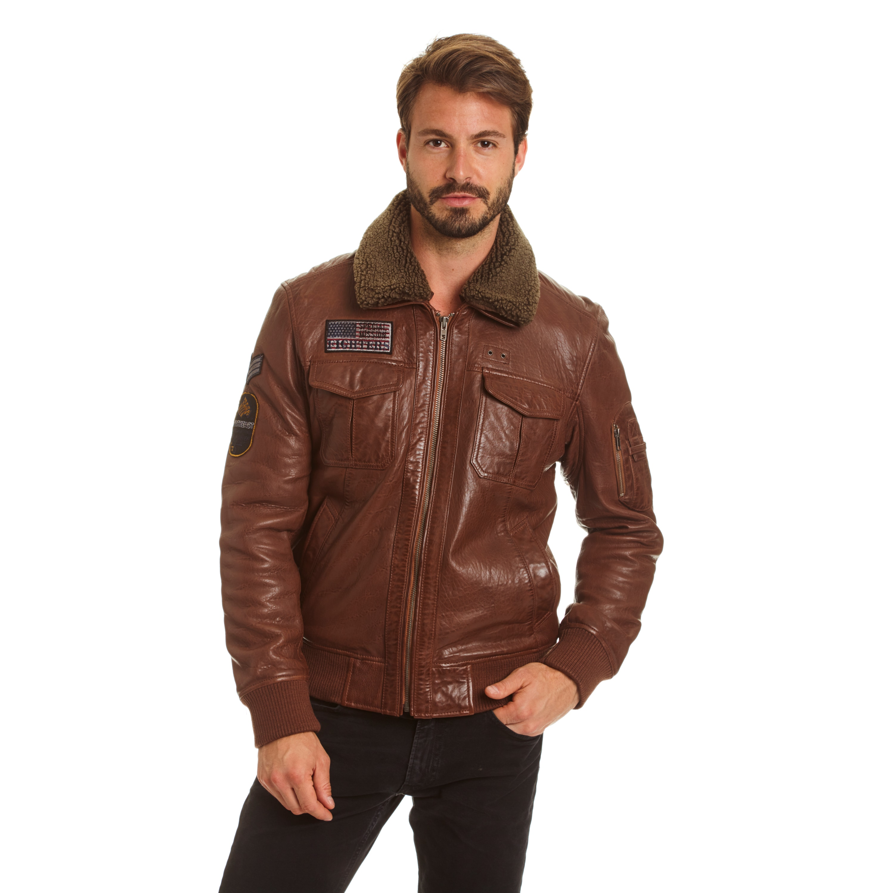 EXcelled  Men's Lambskin A-2 Flight Jacket with Faux Curl...