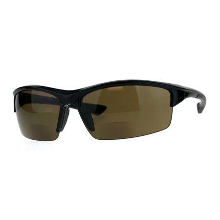 Mens Baseball Half Rim Warp Sunglasses With Bifocal Reading Lenses Brown (Mens Brown Sunglasses)