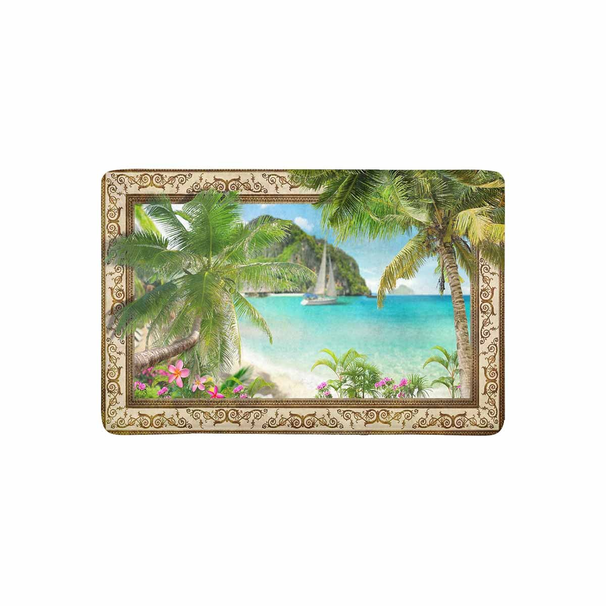 MKHERT Frame with Tropical Palm Trees Sailboat and Pulmeria Flowers Doormat Rug Home Decor Floor Mat Bath Mat 23.6x15.7 inch