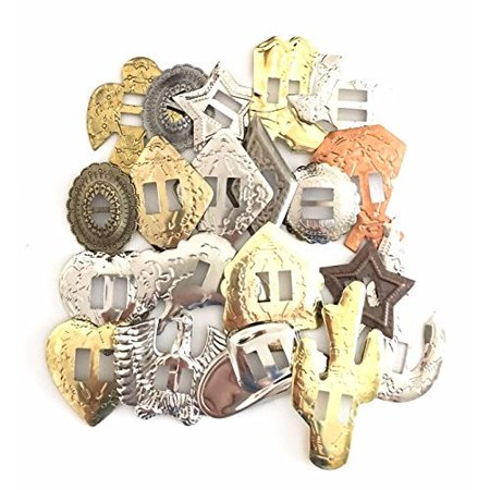 Conchos Grab Bag! Western Styles, Mixed Shapes and Sizes, Slotted; 100 Pieces