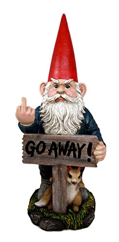 "Atlantic Collectibles Rude Garden Greeter ""Go Away!"" Gnome Dwarf Not Welcome... by Atlantic Collectibles"