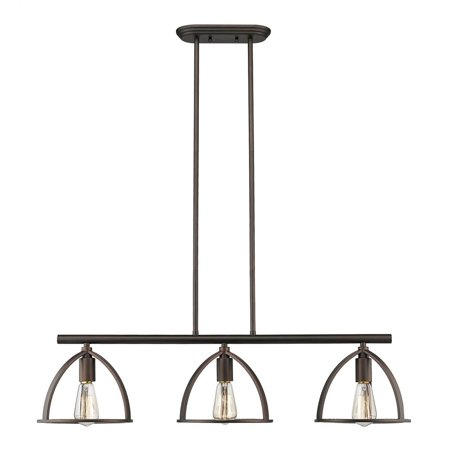 "CHLOE Lighting IRONCLAD Industrial 3 Light Rubbed Bronze Island Pendant 35"" Wide"