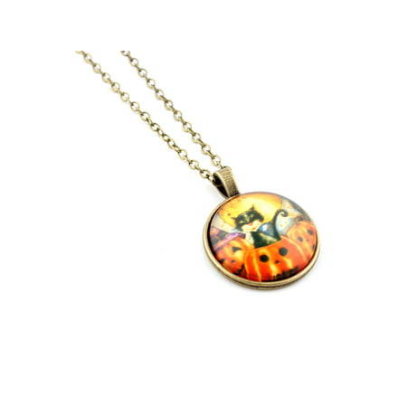 Vintage Halloween Cabochon Bronze Glass Chain Pendant Necklace #96