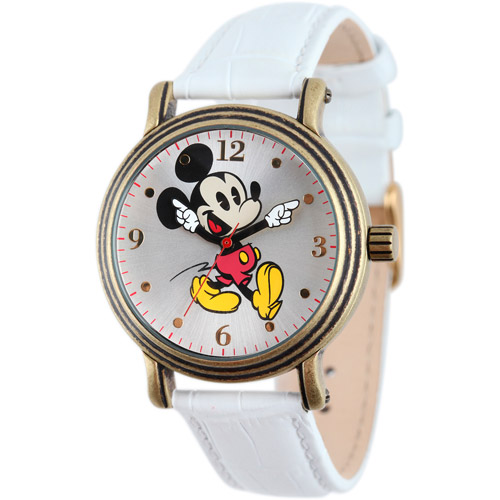 Disney Mickey Mouse Women's Antique Gold Vintage Articulating Alloy Case Watch, White Leather Strap