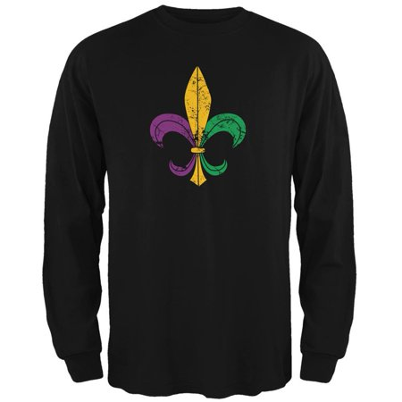 Mardi Gras Fleur De Lis Distressed Black Adult Long Sleeve T-Shirt (Mardi Gras Tie Dye)