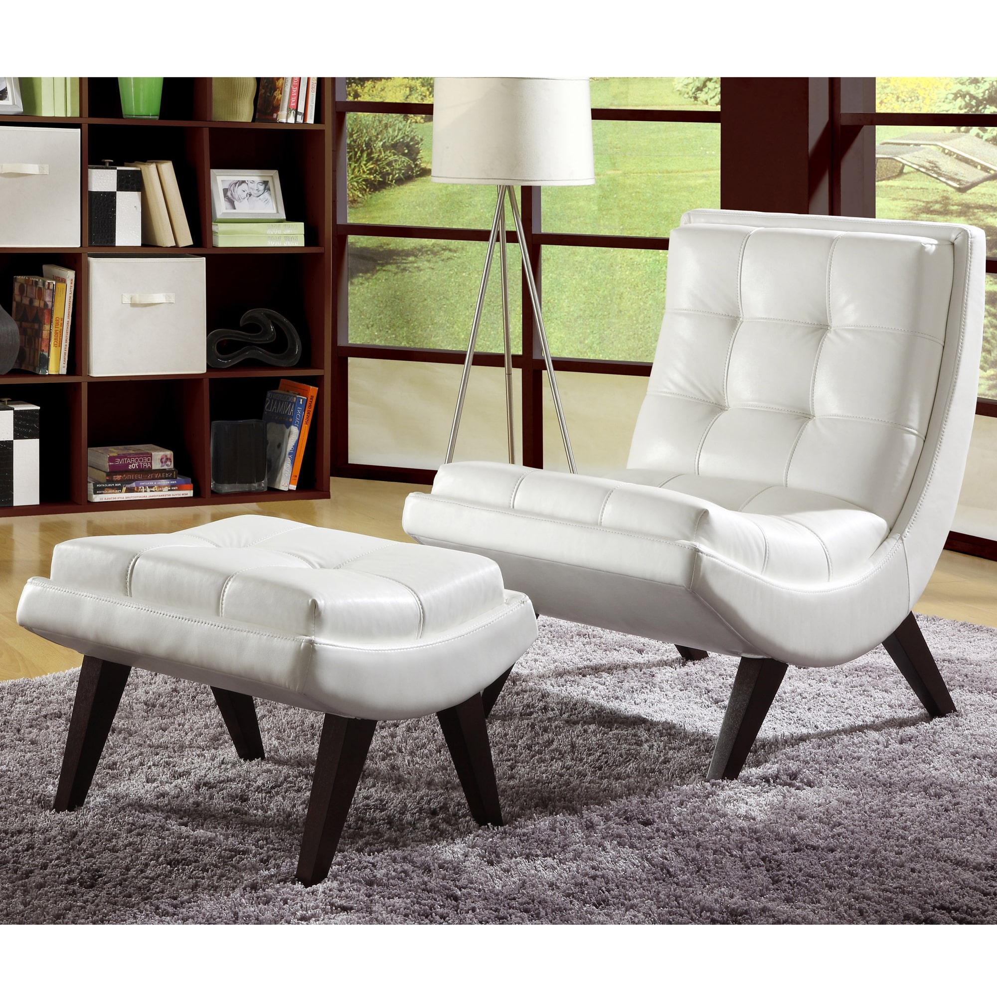 INSPIRE Q Albury White Faux Leather Chair With Ottoman   Walmart.com