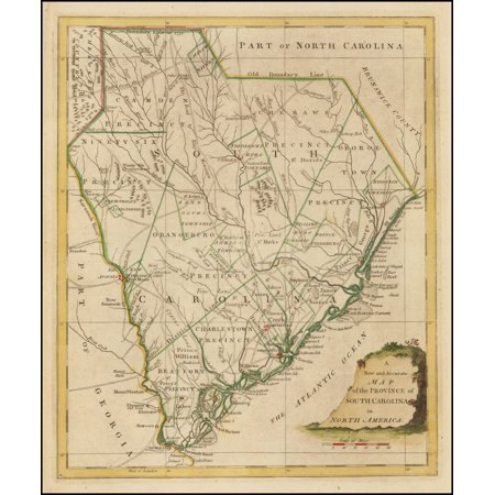 LAMINATED POSTER A New and Accurate Map of the Province of South Carolina in North America POSTER PRINT 24 x (Outline Map Of North And South America)