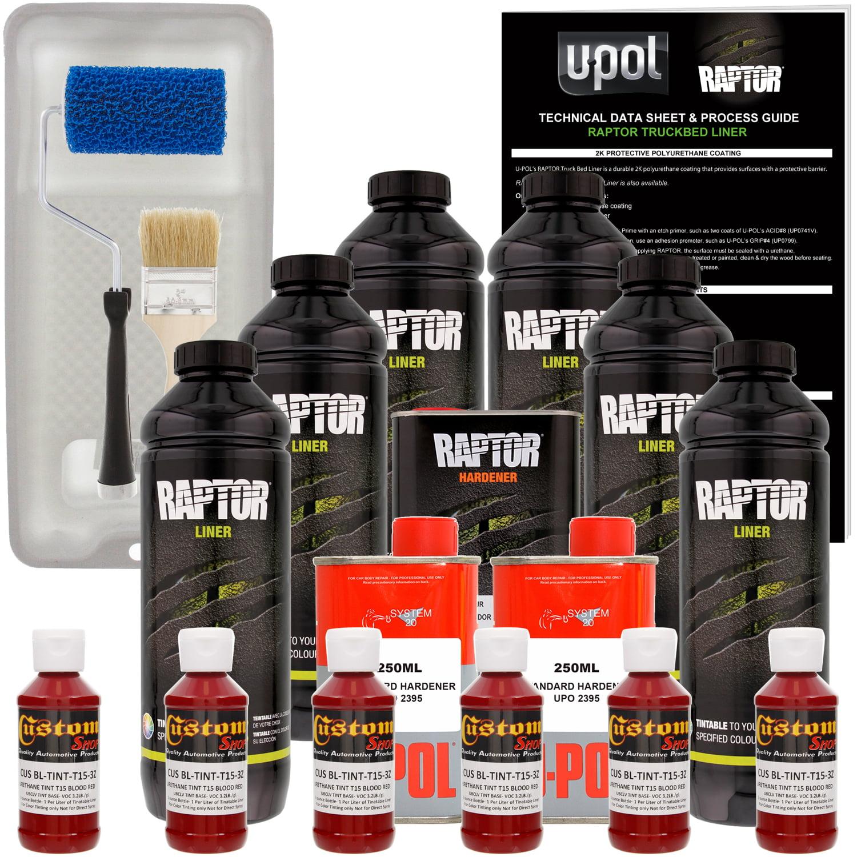 Raptor Blood Red Urethane Spray-On Truck Bed Liner Roller,Tray,Brush6 Liters