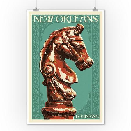 New Orleans Wall Decor (Horse Head Hitch Letterpress - New Orleans, Louisiana - Lantern Press Poster (9x12 Art Print, Wall Decor Travel)