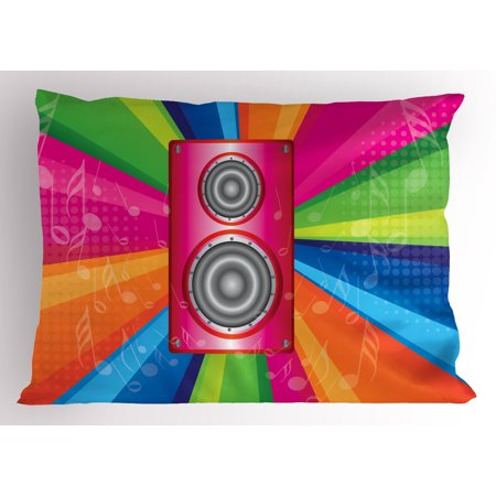 Themes Of The 70s (Vintage Rainbow Pillow Sham Discotheque Pop Party of the 60s 70s Theme Musical Notes and Pink Stereo, Decorative Standard Size Printed Pillowcase, 26 X 20 Inches, Multicolor, by)