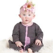 Baby Girls Charcoal Pink Polka Dots Chelsea Designer Romper 3M