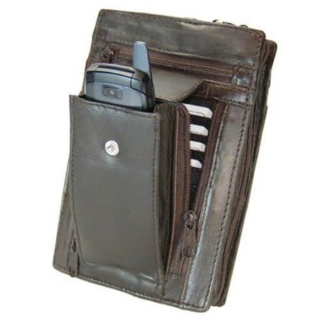 Large Genuine Leather Men Women Travel Wallet with Wrist Strap 107 (C) Brown