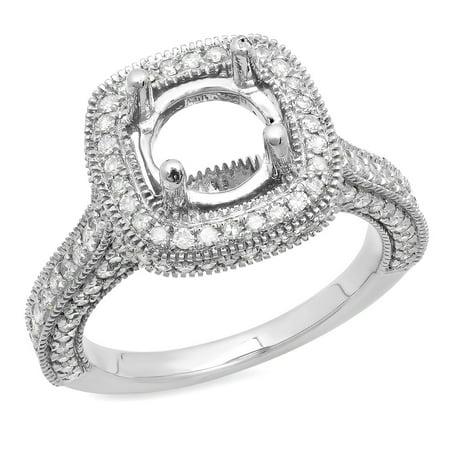 Dazzlingrock Collection 0.90 Carat (ctw) 10K Round White Diamond Bridal Semi Mount Engagement Ring, White Gold, Size