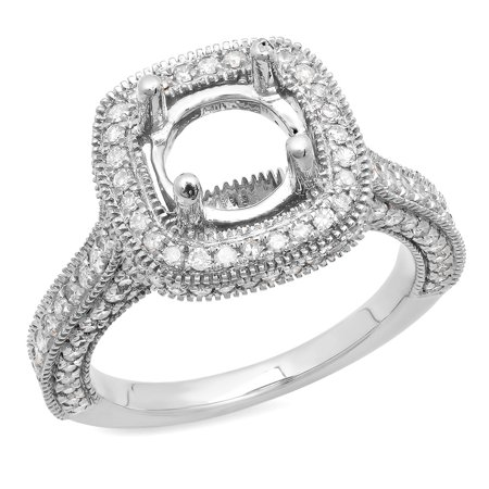 Dazzlingrock Collection 0.90 Carat (ctw) 10K Round White Diamond Bridal Semi Mount Engagement Ring, White Gold, Size 7