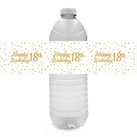 18th Birthday Water Bottle Labels, 24 ct - Adult Birthday Party Supplies White and Gold 18th Birthday Party Decorations Favors - 24 Count Sticker Labels - 30th Birthday Decorations Black And White