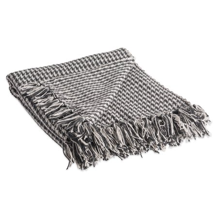 "DII Rustic Farmhouse Cotton Houndstooth Blanket Throw with Fringe For Chair, Couch, Picnic, Camping, Beach, & Everyday Use , 50 x 60"" - Mineral"