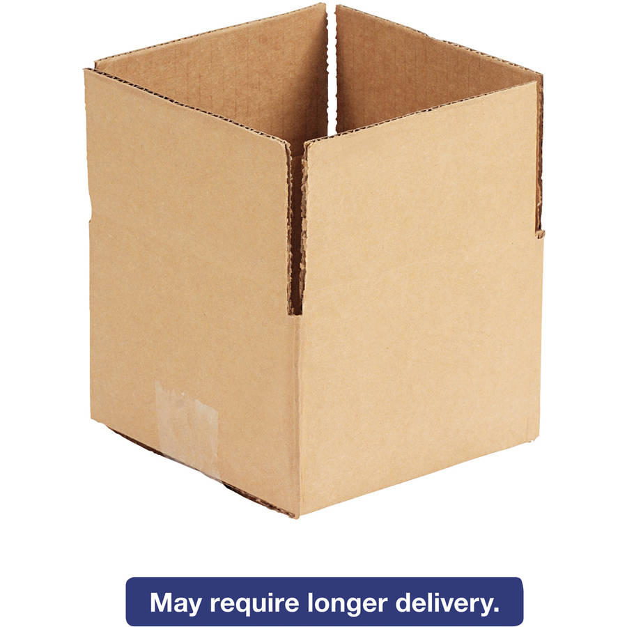 "General Supply Brown Corrugated - Fixed-Depth Shipping Boxes, 6""L x 6""W x 4""H, 25/Bundle"