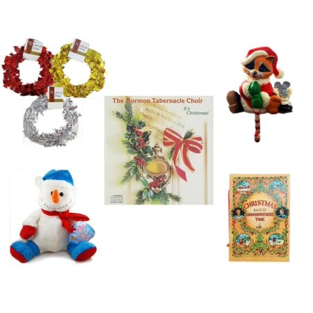 Christmas Fun Gift Bundle [5 Piece] - Brite Star Red, Silver, Gold Foil Garland 2.5' Ft. Ea. - Raccoon Santa Small Stocking Hanger - The Mormon Tabernacle Choir It's  CD - Snowman  12