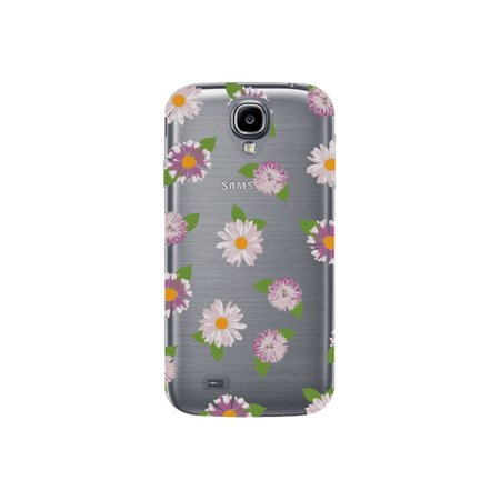 Purple White Flowers On Clear Phone Case - For Samsung Galaxy S4 Back