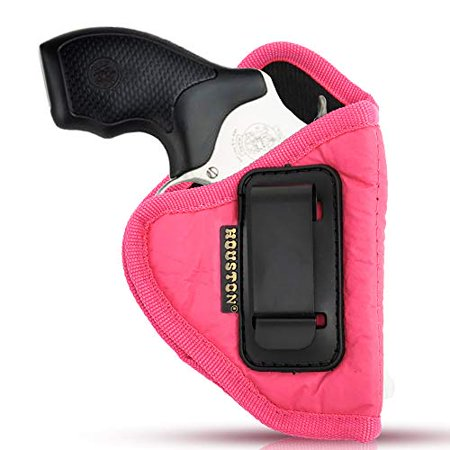 IWB Woman Pink Revolver Holster - Houston - ECO Leather Concealed Carry Soft | Suede Interior for Maximum Protection Fits: Any 38 J Frames, S&W, Charter Arms, Rossi 38, Taurus,BG (Right)