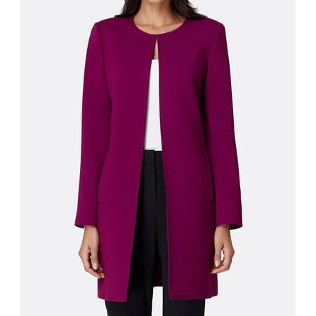 Purple Women Petite Round-Neck Topper Jacket $149 10P