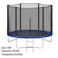 10 FT 16 FT Trampoline with Safety Enclosure Net for Kids and Adults Fitness Trampoline, Waterproof Jump Mat, Ladder, Spring Cover Pad Exercise Fitness Outdoor Trampoline
