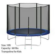 10 FT Trampoline with Safety Enclosure Net for Kids and Adults Fitness Trampoline, Waterproof Jump Mat, Ladder, Spring Cover Pad Exercise Fitness Outdoor Trampoline