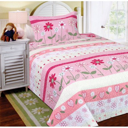 Fancy Linen 2pc Twin Bedspread Quilt Girls Flower Pink