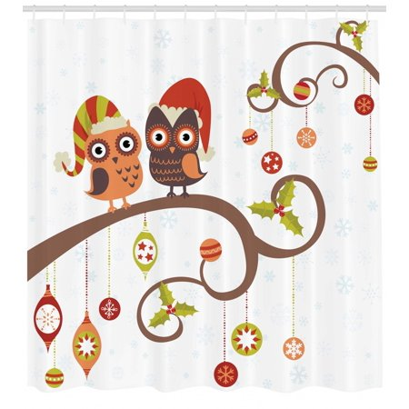 Christmas Shower Curtain Owls On Celebrating Twiggy Tree Branches Annual Yule Noel Themed Print