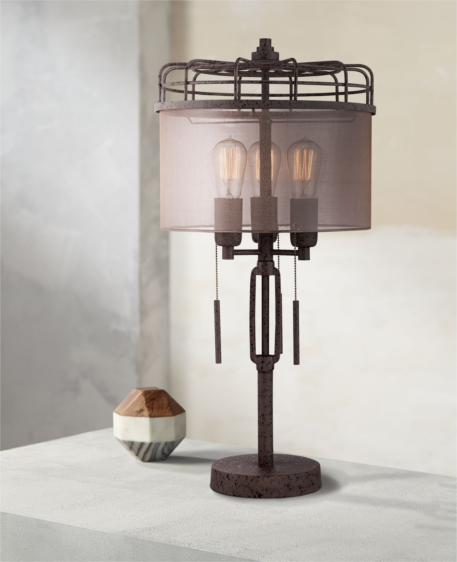 Franklin Iron Works Industrial Table Lamp Rustic Bronze Metal Cage Sheer  Drum Shade Vintage Edison Bulbs For Living Room Bedroom   Walmart.com
