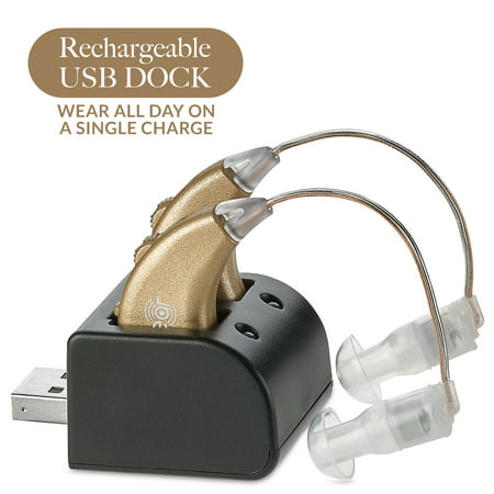 Digital Hearing Amplifiers - Rechargeable BTE Personal Sound Amplifier Pair with USB Dock - Premium Gold Behind the Ear Sound Amplification - By