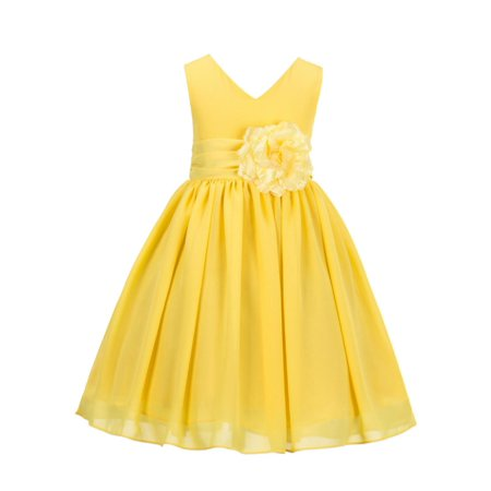 Ekidsbridal Elegant Yoryu Chiffon V-neck Flower Girl Dress Wedding Toddler Birthday Party Bridesmaid Pageants First Communion Special Occasions Formal Events Baptism Summer Easter Reception S1503