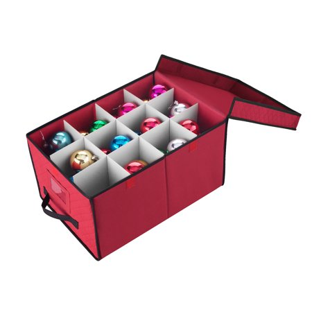 Elf Stor Red Christmas Ornament Storage Chest Holds 24 Balls w/ 4